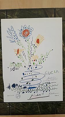 Pablo Picasso  Old Vintage  Hand Signed 1964 Colour Print+ Paris Gallery Stamp