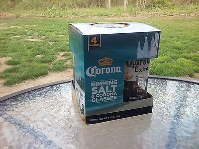 Corona Rimming Salt And Glass Set Of Four Corona Extra Beer Drinkware New In Box