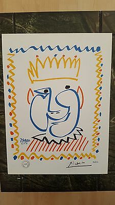 Pablo Picasso Vintage  Hand Signed 1964 Colour Print Paris Gallery Stamp.