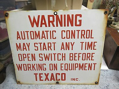Vintage Texaco Gas Oil Porcelain Sign Red Warning Oil Field Derrick Man Cave