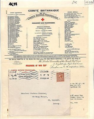 1918 GB London Red Cross French Committee/Channel Is Jersey Contents