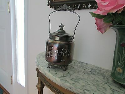 Monarch Brand Silver Plate Biscuit Jar/Tin/Victorian with Handle