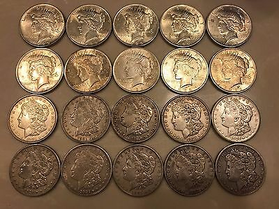 Roll of 20 Peace & Morgan Silver Dollars 1886-1922 Free Shipping