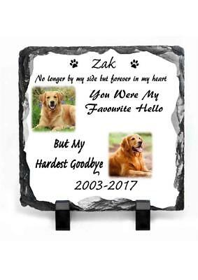 Pet Dog Photo Memorial Slate Personalised Plaque Beautiful Quote