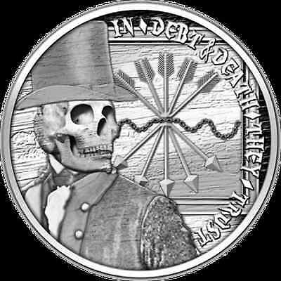 1 Oz Silver Coin *proof* Debt And Death Double Obverse The Original Sbss 1 Ounce