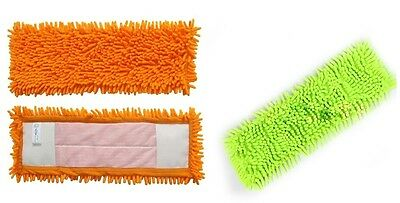 2  Microfibre Chenille Heads Refill Replacement Dust Cloth Washable Cleaning Pad