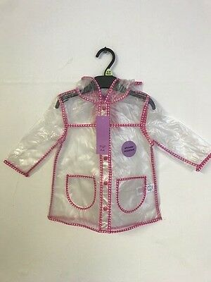 Girls Clear  Rain Mac With Pink Butterfly Detailing  AGE 1 2 3 4 5 6 7 (Z1.10)