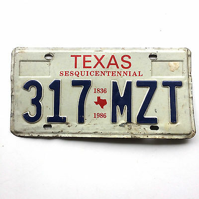Texas 1986 License Plate Garage Sesquicentennial State Map Old Car Auto Tag