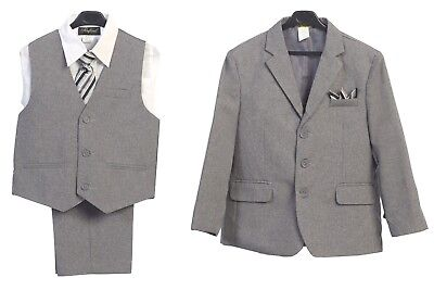 Boys Suit Formal Light Gray Toddler Kids Graduation Wedding Vest Suit 5 P C Tie