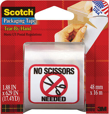 """Scotch Tear-By-Hand Packaging Tape-1.88""""X629"""" Clear"""