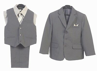 Boys Suits Formal Dress Silver Gray Toddler Kids Graduation Wedding Vest Suit S