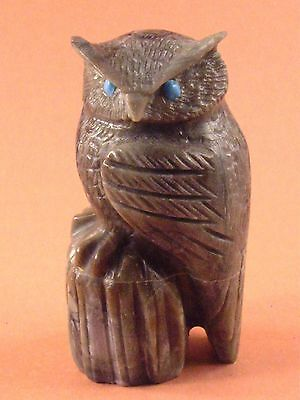 Arvella Cheama-Picasso Marble Owl-Zuni Fetish-Native American-Stone Carving