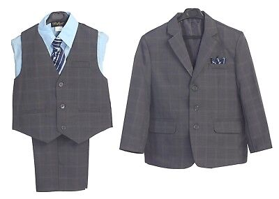 Boys suit Formal Dress Navy Plaid Toddler Kids Graduation Wedding Vest Suit S