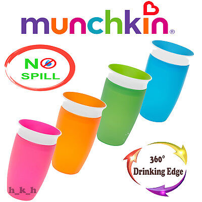 Munchkin Miracle Sippy Cup 296 ml 360 Degree No Spill Blue Pink Green Orange