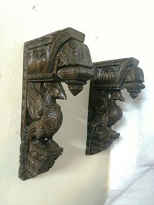 Bird Sculpted Wooden Bracket Corbel Pair Vintage Peacock Statue Ornament Unique