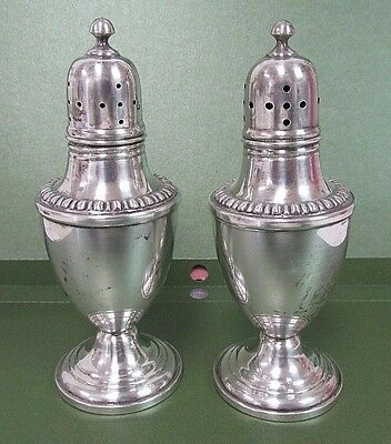 """WM Rogers Mfg. Co. Sterling Salt & Pepper Shakers Weighted Reinforce 4.5"""""""