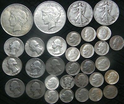 $7 90% old U.S silver Coins silver Dollars  Quarters & Dimes silver Half Dollars
