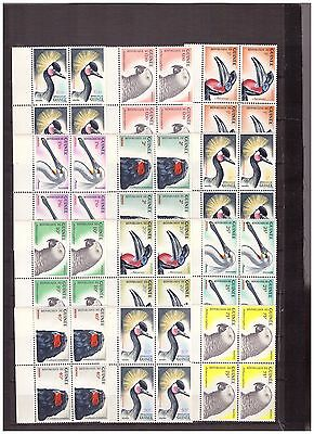 s16092) GUINEE GUINEA MNH** 1962 Birds Uccelli 15v  block of 4 (2 scans)