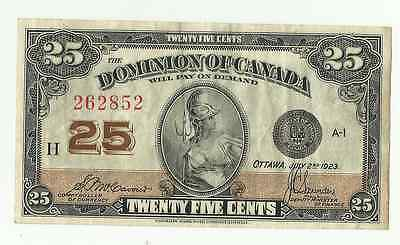 1923 Dominion Of Canada Paper Money Shin Plaster 25 Cents Note Mccavour Saunders