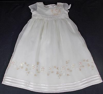 NEXT baby christening gown dress full long length traditional SILK girl IVORY