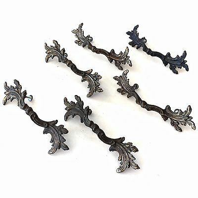 VINTAGE LOT Boho Bohemian Victorian Drawer Pulls with Natural Patina 6 Pieces