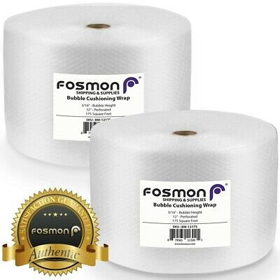 "Fosmon Bubble + Wrap 2 Roll x 12"" x 175ft, Total 350ft, Perforated 12"", Shipping"