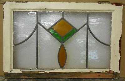 """OLD ENGLISH LEADED STAINED GLASS WINDOW Pretty Diamond & Drops 25.5"""" x 16.25"""""""