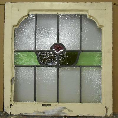 """OLD ENGLISH LEADED STAINED GLASS WINDOW Floral w/Accent Corners 21.25"""" x 21.75"""""""