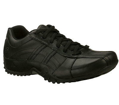 76832 EW Wide Width Black Skechers Shoes Work Men Oxford Slip Resistant Leather