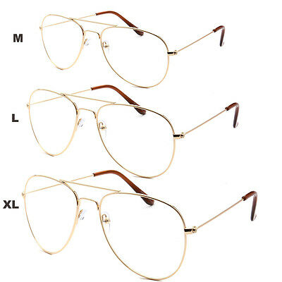 XL Classic Vintage Retro Aviator Clear Lens Gold Metal Frame Eyeglasses Glasses