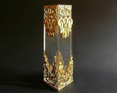 """Great Belle Epoque Antique French Crystal Extensive Lily Floral Ormolu Vase 7"""""""