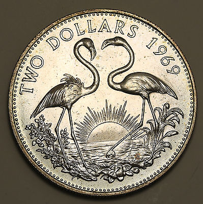 1969 Bahamas Flamingos $2 Silver 0.88oz  Low Mintage UNC Coin