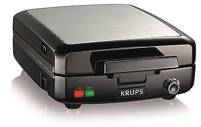 KRUPS GQ502D Adjustable Temperature Belgian Waffle Maker with Removable Plates,