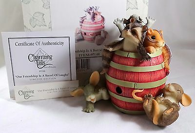 Charming Tails Figurine Our Friendship Is A Barrel of Laughs NIB giggle sounds