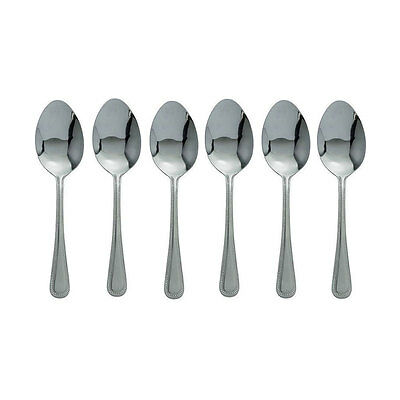 6 x Bead Tea Spoon, Cutlery, Dozen Tea Spoons, Stainless Steel 6 TeaSpoons