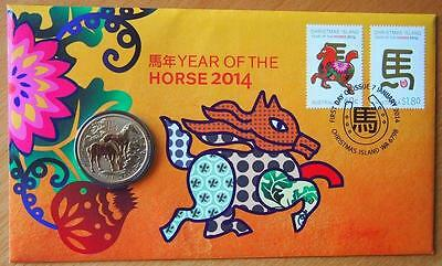 Australia 2014 Year Of The Horse Pnc Stamp & $1 Coin Covers