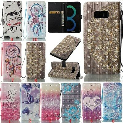 Fashion 3D Painting Leather Card Holder Case Cover For Samsung S7 S8 Plus Note 8