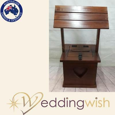 Timber Stained Wishing Well with Heart Detail