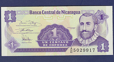 1991 Nicaragua 1 Centavo Note In Uncirculated Condition (Pick #167)