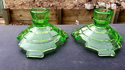 Green Tea Room Candlesticks Pair