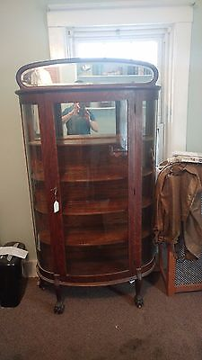 Antique Wood China Curved Glass Front Shelved Cabinet