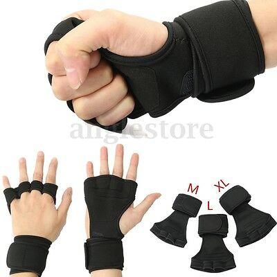 Health Gloves Wrist Wrap Workout Dumbbell Fitness Gym Weight Lifting Grip Men
