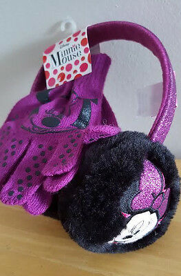 Minnie Mouse Plush Muff And Gloves Set New Nwt Purple Sparkles Bling
