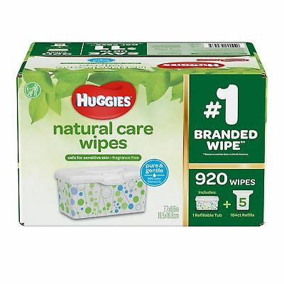 Huggies Natural Care Baby Wipes 920 Count Unscented Sensitive Skin Hypoallergnic