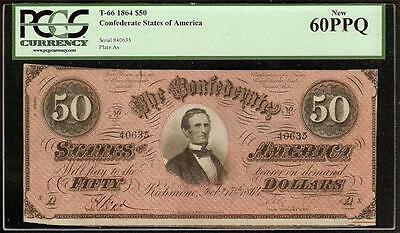 Unc 1864 $50 Bill Confederate States Currency Civil War Note Money T-66 Pcgs Ppq