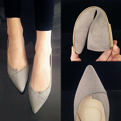 New Women's Pointed Toe Ballet Flats Slip on Suede Shoes Stiletto Fashion Loafer