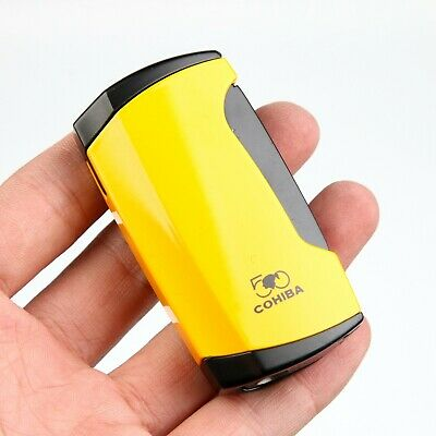 COHIBA Pretty Yellow Metal 2 TORCH JET FLAME CIGAR CIGARETTE LIGHTER With  Punch