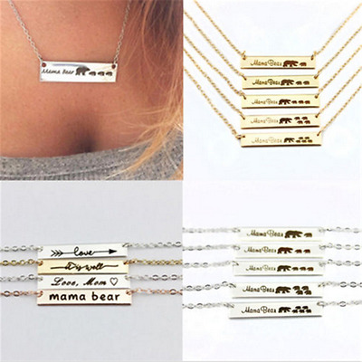 Engraved Love Mama Bear Necklaces Bar Pendant Necklace Mother's Gift