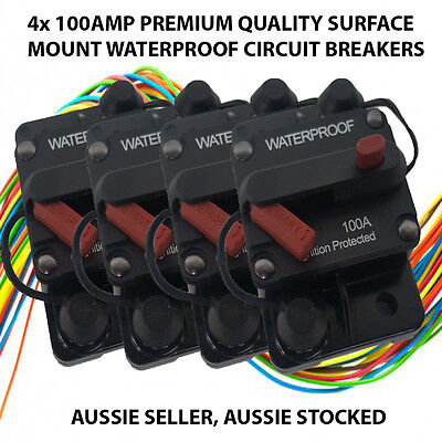 4 x 100AMP CIRCUIT BREAKER DUAL BATTERY IP67 W/PROOF 12V/24V FUSE MANUAL RESET*