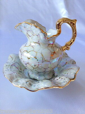 �� Stunning Jug & Bowl In Rich Gold And Shiny Rainbow Lustre Finish